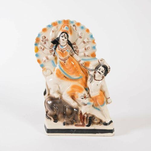 Vintage Ceramic Durga Statue 1960s Hindu Goddess Sculpture India Hinduism