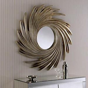 Silver Swirl Sunburst Wall Mirror Modern Large 3ft Round Modern Contemporary