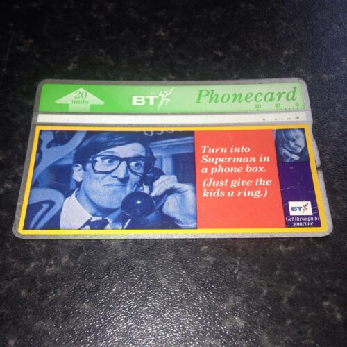 BRITISH TELECOM PHONECARD BT PHONE CARD Rare Superman In Phone Box 20 Units