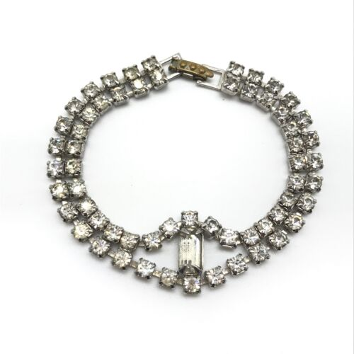 Vintage Sparkly Clear Rhinestone Silver Tone Bracelet