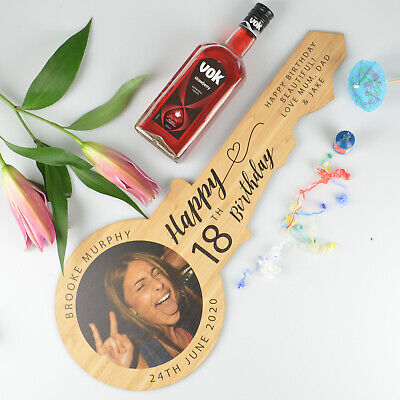 Personalised Photo Printed Wooden Signing Guest Book Birthday Key 18th 21st Gift