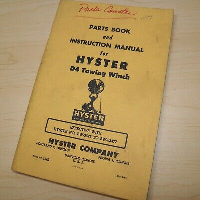 Hyster D4 Tractor Winch Owner Instruction Parts Maintenance Manual Crawler Guide