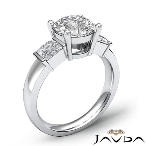 GIA Certified 3 Stone 1.6ct Round F-VVS2 Diamond Prong Engagement Ring Platinum 1