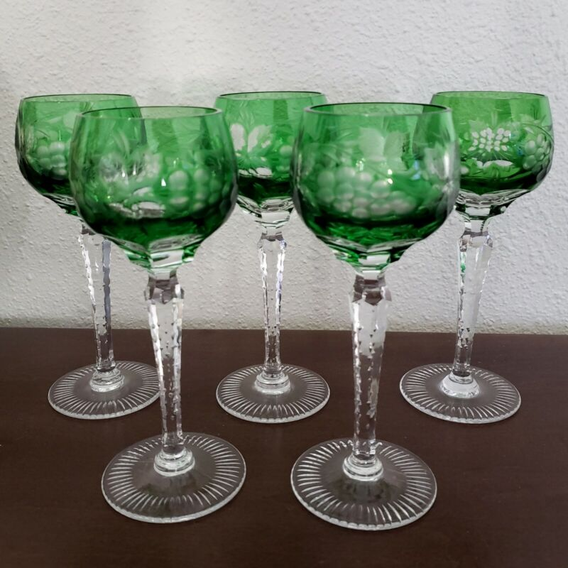 """5 Green Cut To Clear Crystal Wine Apertif Glasses Goblets 7 1/8"""" Tall Grapes"""