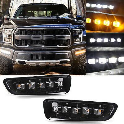 LED DRL w/ Turn Signal Fog Light Bezels fit For Ford F-150 Raptor 2017 2018 2019 for sale  Shipping to Canada