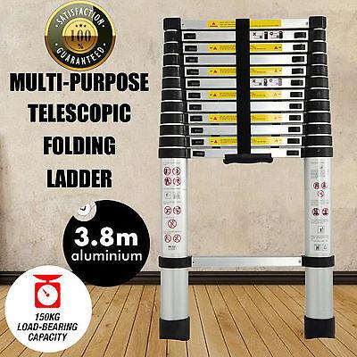 12.5FT/3.8M Multi-Purpose Aluminium Telescopic Ladder 150kg Max Load Capacity UK