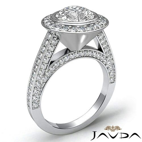 2.7ct Bezel Round Diamond Engagement Halo Pave Ring GIA F VS2 14k White Gold 1