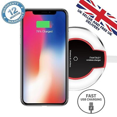 Qi Wireless Fast Charger Charging Dock Pad For Samsung Galaxy Apple iPhone X S8