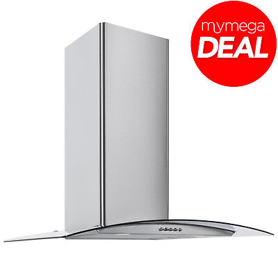 Econolux REF28369 60cm Designer Curved Glass Cooker Hood Stainless Steel
