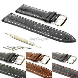 MENS GENUINE LEATHER WATCH STRAP BAND + TOOL SPRING BAR PINS 18MM 20MM 22MM 24MM