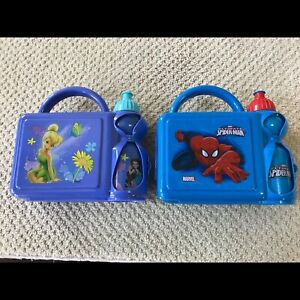 Spider-man & tinkerbell kids lunch box with water bottle