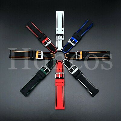 22 MM Double Color Silicone Rubber Watch Band Strap Fits Panerai Replacement USA Panerai Rubber Band