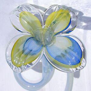 Art glass flower yellow blue spiral stem hot glass for Decor8 crack
