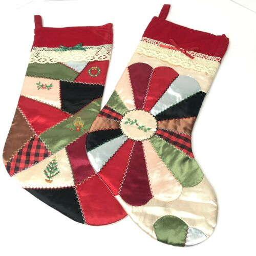 2 HOUSE OF HATTEN Patchwork Stockings - Colorful Quilted- Vintage HOH