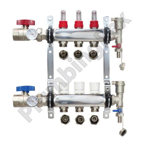 "3-Branch PEX Radiant Floor Heating Manifold Stainless Steel w/ 1/2"" Connectors"