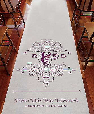 Fanciful Monogram PERSONALIZED Aisle Runner Wedding Ceremony Decoration  - Personalized Wedding Aisle Runner