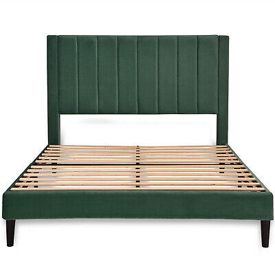 Queen Size Metal Platform Bed Frame w/ Wood Slats & Velvet Upholstered Headboard Wood Metal Headboards