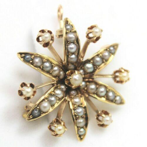 Little 14 kt Gold Late Victorian STARBURST Half Pearls Brooch Pin Pendant B0751