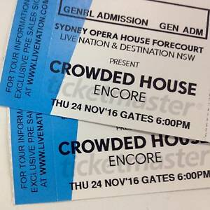 2 x SOLD OUT Crowded House Tickets OPENING SHOW Sydney City Inner Sydney Preview