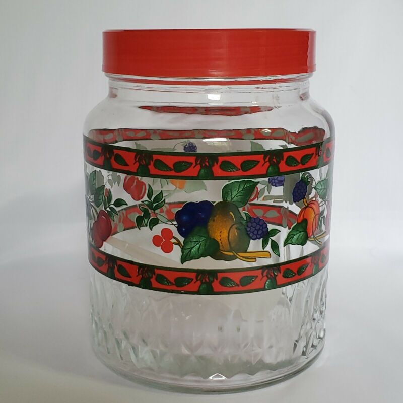Vintage Kig Canister 6 Cup Red with Fruit Glass Indonesia w/ Tupperware Scoop