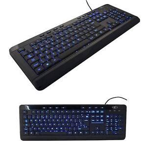 SUMVISION INDIGO LED COMPUTER PC KEYBOARD USB BLUE BACKLIT DESKTOP MULTIMEDIA