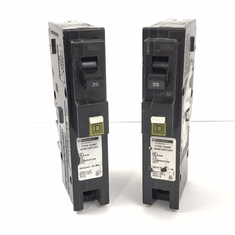 (2) Square D HOM120PCAFI Circuit Breakers 120V 20A Schneider Electric ~Tested~