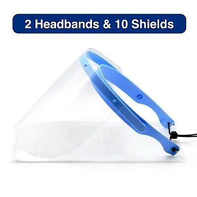 Safety Full Face Shield Flip-up Clear Visor 2 Pack 10 Shields Medical Cover Mask