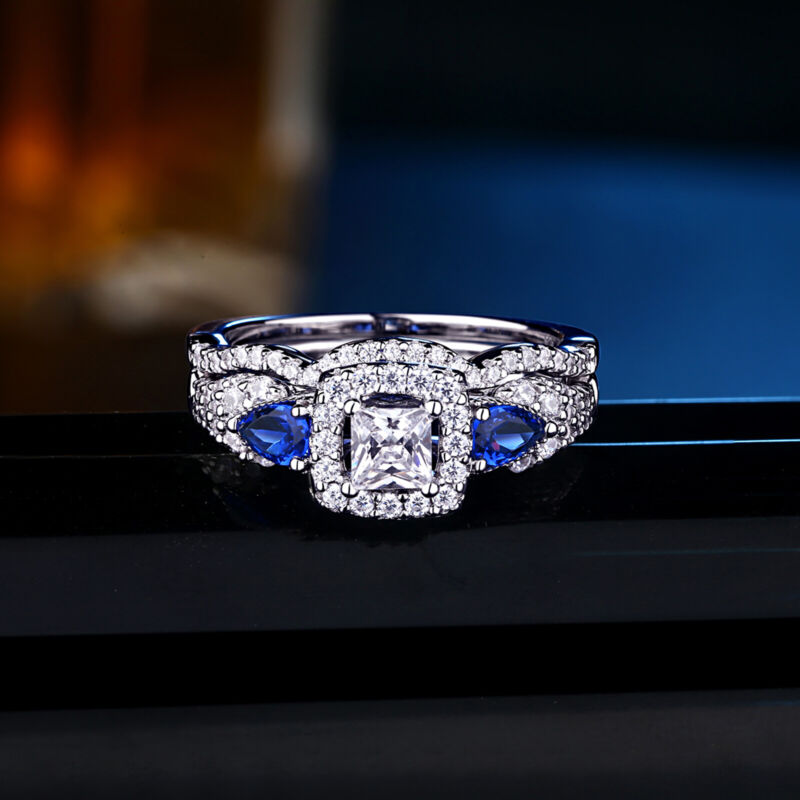 Wedding Engagement Ring Set For Women Princess White 925 Sterling Silver Cz 5-12