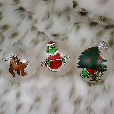 The Grinch Hand painted Set of 3 Glass Frosted Ball Christmas Ornaments #1 ()
