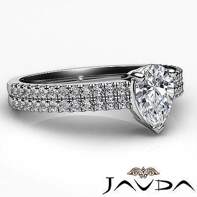 U Cut Prong 2 Row Shank Pear Diamond Engagement Anniversary Ring GIA H VS2 1Ct 2