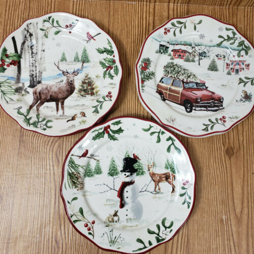 (2) Better Homes & Gardens Christmas dear red truck snowman winter salad plates