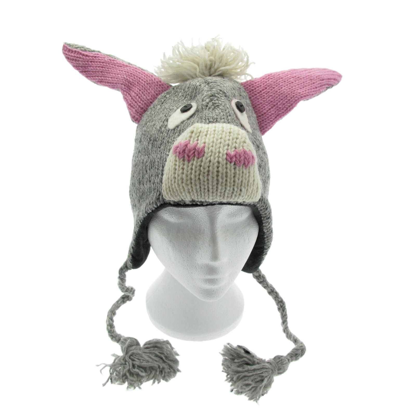 Spaß Esel handgemacht Winter Woollen Tier Hut Fleecefutter Einheitsgröße, Unisex