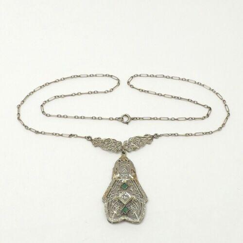Art Deco 14k White Gold Emerald Diamond Lavalier Pendant Necklace 15 Inch