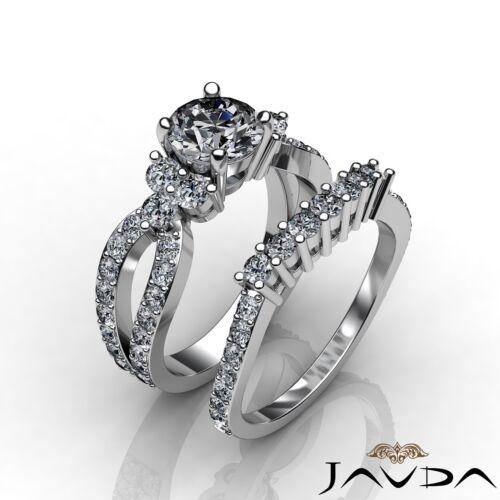 GIA Certified Round Diamond Bridal Set Anniversary Ring F SI1 Platinum 2.55ct