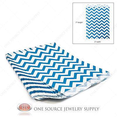 100 Blue Chevron Gift Bags Merchandise Bags Paper Bags Retail Bags 5x 7