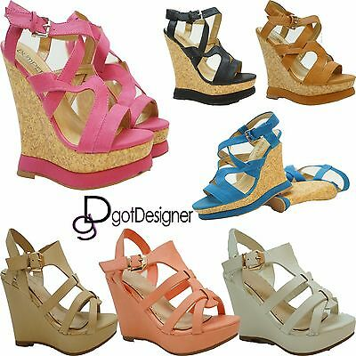 Womens Fashion Open Toe Wedge Platform Shoes Strappy Mid Heel High New Size 5-10 Strappy Open Toe Wedges