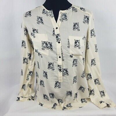 Zara Trafaluc Womens Top Sz 5 Tigers White Button Front Blouse Long Sleeve *