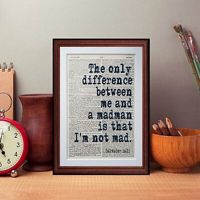 Salvador Dali  quote dictionary page art print reading books literary gift