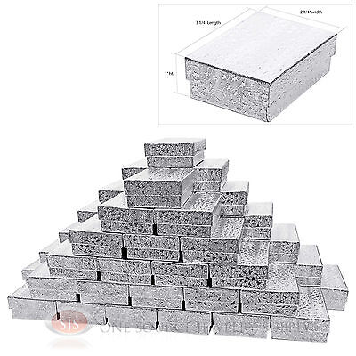 """50 Silver Foil Cotton Filled Jewelry Gift Boxes Charm Ring Box 3 1/4"""" X 2 1/4"""""""