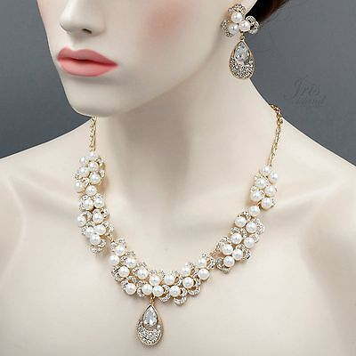 Gold Plated GP Pearl Crystal Necklace Earrings Bridal Wedding Jewelry Set 05736