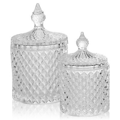 Stylish Glass Alpina Candy Jar Decorative Sweet Container With Lid 2 Sizes - Decorative Glass Jars With Lids