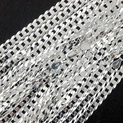 "Wholesale Lot 10PCS 925 Sterling Silver Curb Chain Gauge 140 5.5mm 24"" Italy"