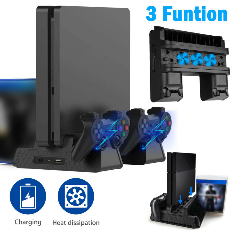 For PS4 Pro / Slim Vertical Stand + Cooling Fan Controller Charging Dock Station