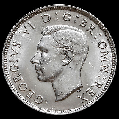 1937 George VI Silver Two Shilling Coin / Florin – A/UNC