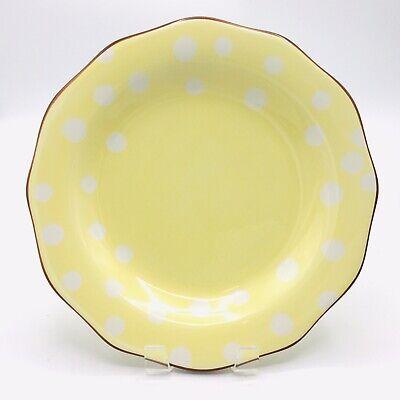 Paula Deen Dot Crazy Brown Trim White Dots Scalloped Yellow Dinner Plate 6814278