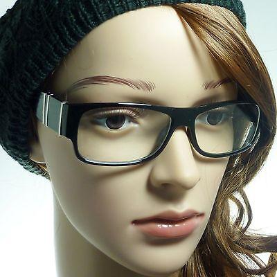 THICK Nerd Designer Retro Rectangle Frame Trendy Clear Lens Eye Glasses BLACK (Trendy Nerd)