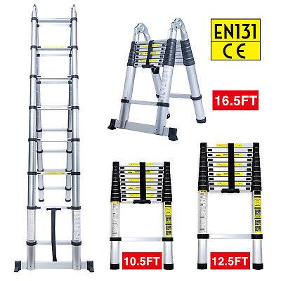 10.5FT 12.5FT 16.5FT Aluminum Multi-Purpose Telescopic Ladder Extension Foldable