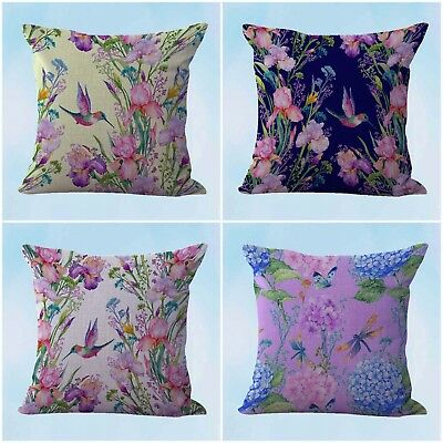 US Seller- 4pcs refuge accessories and decor cushion covers hummingbird flower