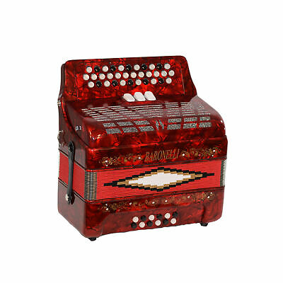 Baronelli 34 Button Accordion 12 Bass, 3 Switch, GCF, With Staps And Case, Red
