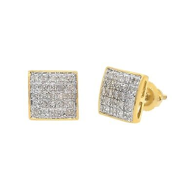 0.15 Ct Round Cut Natural White Diamond Stud Earrings 10k Solid Yellow Gold 7 MM
